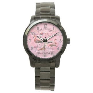 Pink Flamingo Typography   Customized Watch