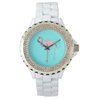 Pink Flamingo Watch - Turquoise blue