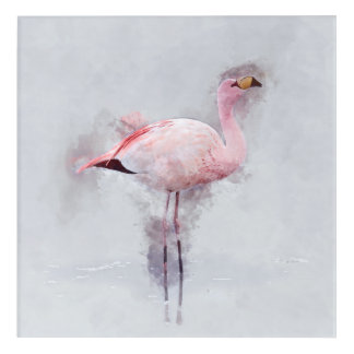 Pink Flamingo Watercolor Acrylic Wall Art