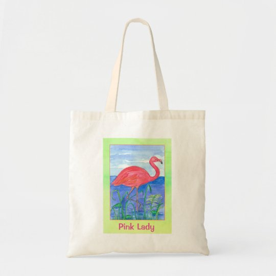 Pink Flamingo Watercolor Chartreuse Tote Bag