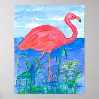 Pink Flamingo Watercolor Painting Poster