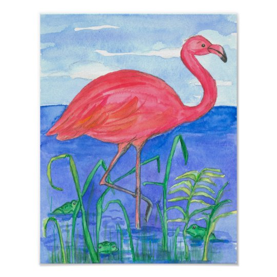 Pink Flamingo Watercolor Painting Poster