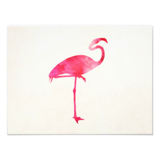 Pink Flamingo Watercolor Silhouette Florida Birds Photo Print