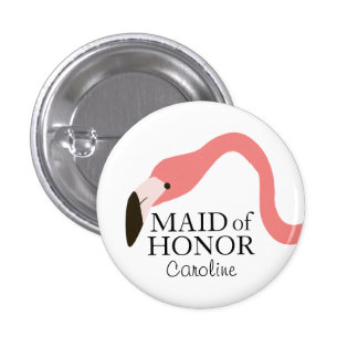 Pink Flamingo Whimsy Maid of Honour 3 Cm Round Badge