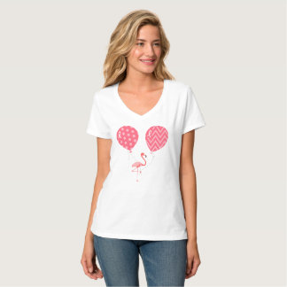 Pink Flamingo with Balloons T-Shirt