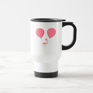 Pink Flamingo with Balloons Travel Mug