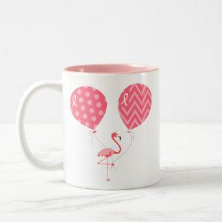 Pink Flamingo with Balloons Two-Tone Coffee Mug