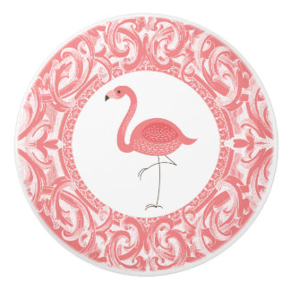 Pink Flamingo With Floral Swirls Ornament Ceramic Knob
