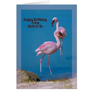 Pink Flamingos at the Lake Card
