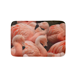 Pink flamingos bath mat