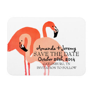 Pink Flamingos Beach Save The Date Flexible Magnets