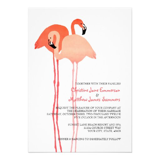 Pink Flamingos Beach Wedding Invitations