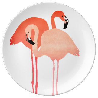 Pink Flamingos Beach Wedding Plate