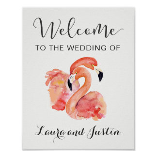Pink Flamingos Beach Wedding Welcome Poster