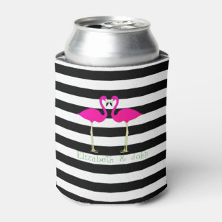 Pink Flamingos ,Black White Stripes,Personalized Can Cooler