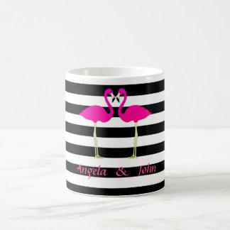 Pink Flamingos, Black, White Stripes Personalized Coffee Mug