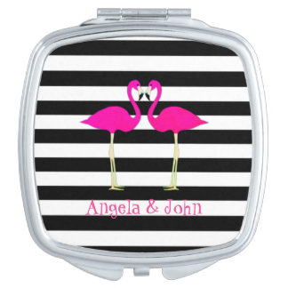 Pink Flamingos, Black, White Stripes Personalized Compact Mirror
