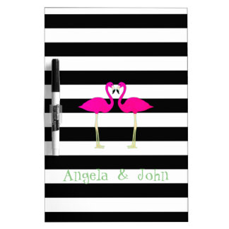 Pink Flamingos ,Black White Stripes,Personalized Dry Erase Board