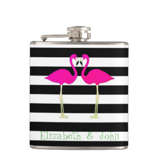 Pink Flamingos ,Black White Stripes,Personalized Hip Flask