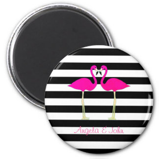 Pink Flamingos, Black, White Stripes Personalized Magnet