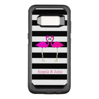 Pink Flamingos, Black, White Stripes Personalized OtterBox Commuter Samsung Galaxy S8 Case