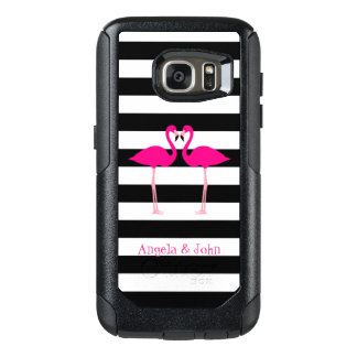 Pink Flamingos, Black, White Stripes Personalized OtterBox Samsung Galaxy S7 Case