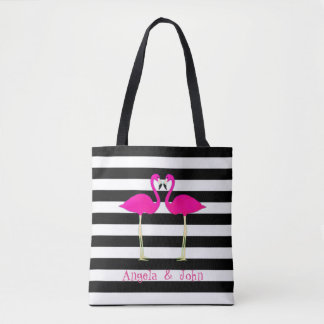 Pink Flamingos, Black, White Stripes Personalized Tote Bag