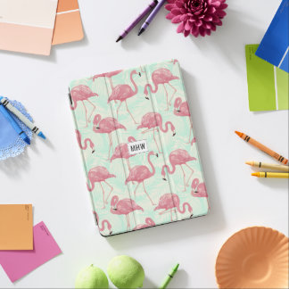 Pink Flamingos custom monogram device covers iPad Air Cover