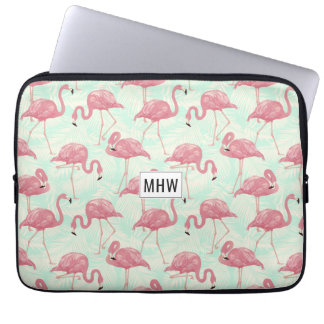Pink Flamingos custom monogram laptop sleeves