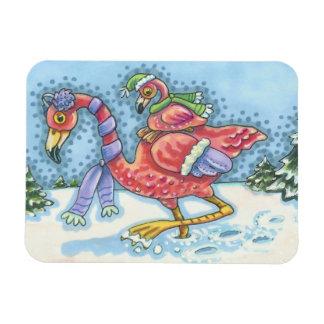 Pink Flamingos Deep Snow CHRISTMAS MAGNET
