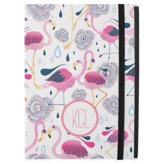 "Pink Flamingos & Flowers Illustration Pattern iPad Pro 12.9"" Case"