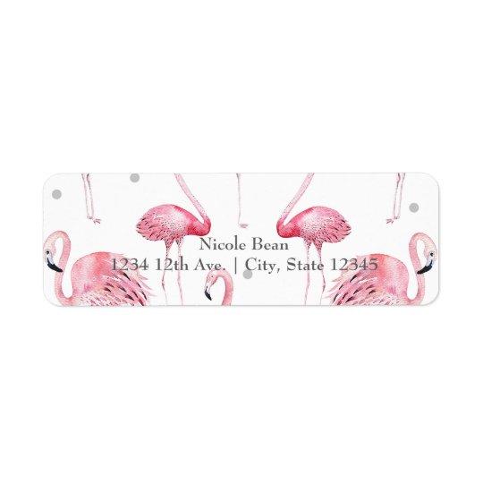 Pink Flamingos Grey Polka Dots Chic Invitation Return Address Label