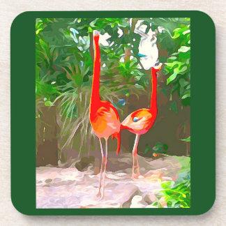 Pink Flamingos in Key West Coaster