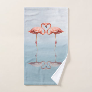 Pink Flamingos in Love Hand Towel