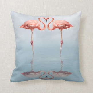 Pink Flamingos in Love Throw Pillow