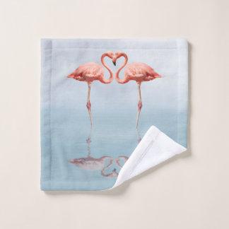 Pink Flamingos in Love Wash Cloth