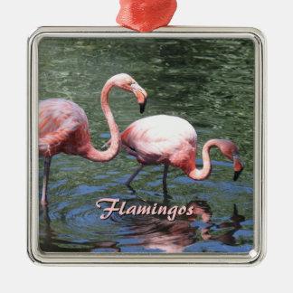 Pink Flamingos Metal Ornament