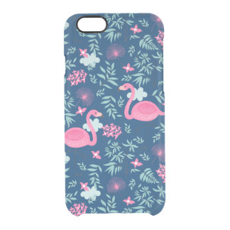 Pink Flamingos Navy Blue Background Clear iPhone 6/6S Case