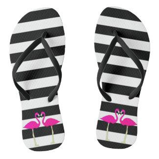 Pink Flamingos On Black and White Stripes Thongs
