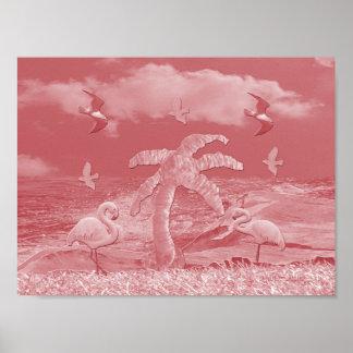 Pink Flamingos Palm Tree Poster