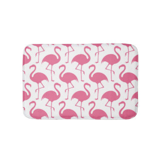 Pink Flamingos Pattern Bath Mat