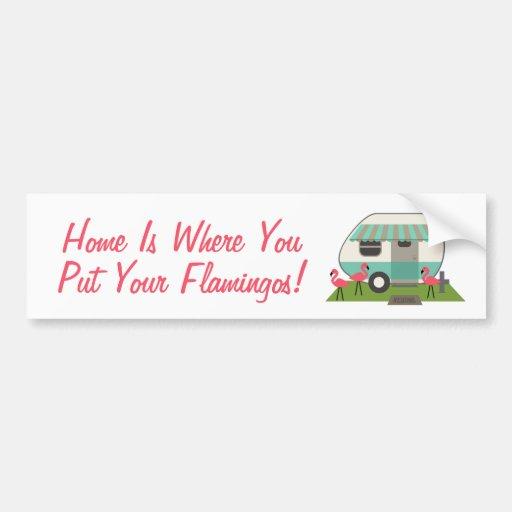 Pink Flamingos & Retro Camper Bumper Sticker