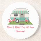Pink Flamingos & Retro Camper Coaster