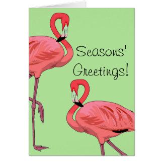 Pink Flamingos Seasons Greetings Card