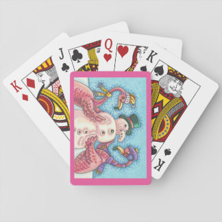 Pink Flamingos Snowman CHRISTMAS PLAYING CARDS