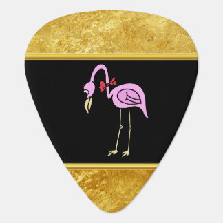 Pink Flamingos standing with a red bow tie Guitar Pick