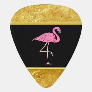 Pink Flamingos standing with gold foil texture 3 Plectrum