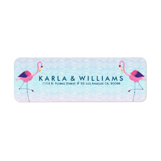 Pink Flamingos & Stylized Water Waves Return Address Label