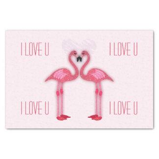 pink flamingos - tissue paper - I love u