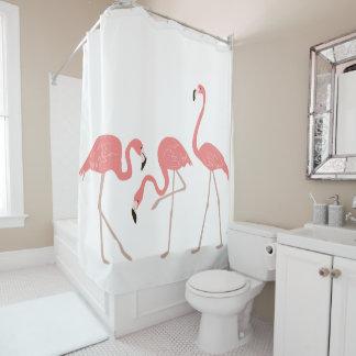 Pink Flamingos Tropical Birds Shower Curtain